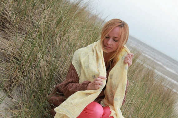 Nuno felted shawl from merino wool and hand dyed cotton gauze, €33.00