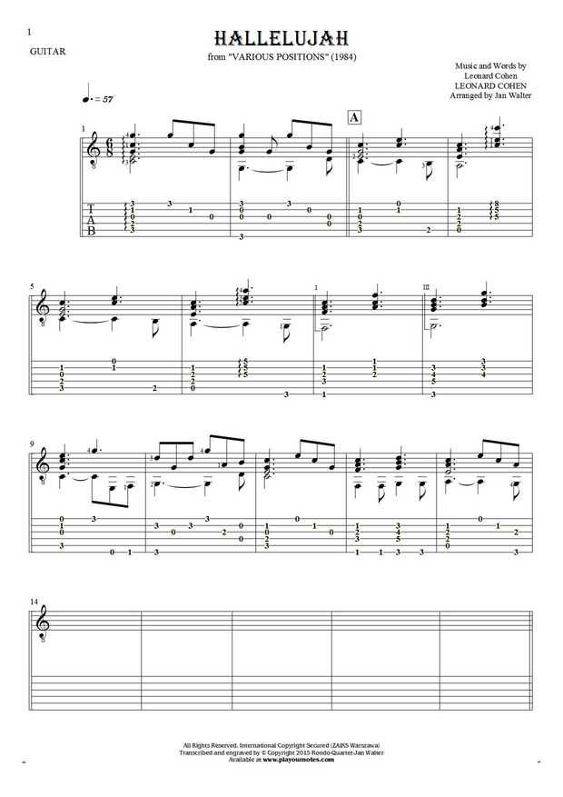 Hallelujah sheet music by Leonard Cohen. From album Various Positions (1984). Part: Notes and tablature for guitar - accompaniment.