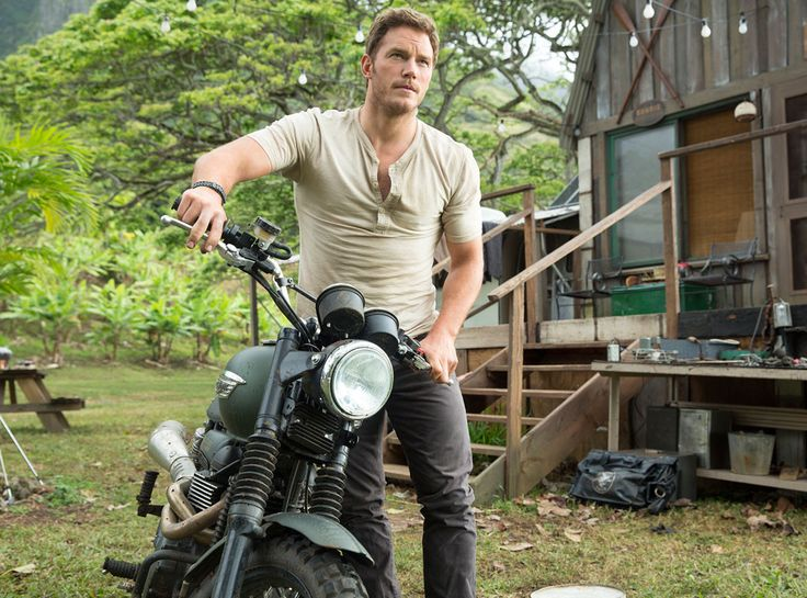 Chris Pratt in Jurassic World, I love this guy trim or not, but rugged with a bike taking on Dinosaurs?! Awesome.