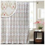 Textil Badewannenvorhang weiß beige rot gemustert 180x180 cm