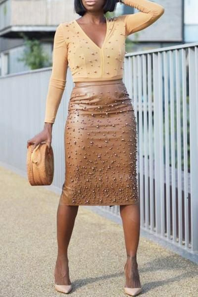 Beaded Detail Slim Fit Luxe Knee-Length PU Leather Pencil Skirt 2