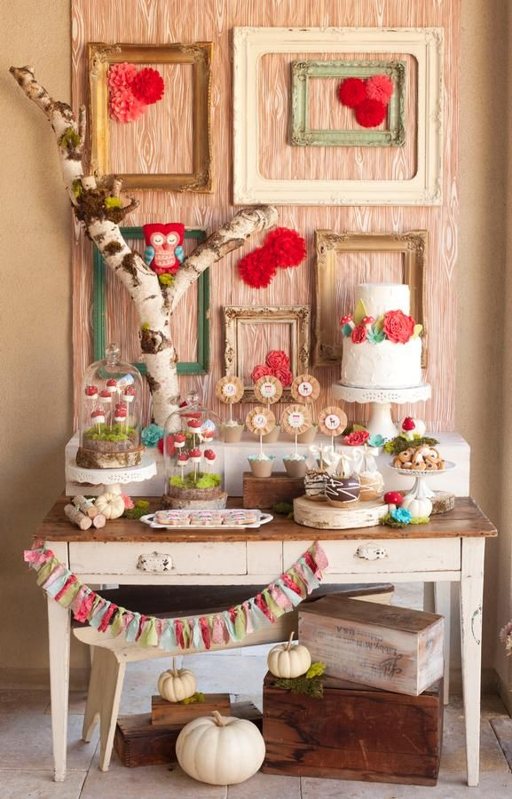 Party Idea: Woodland Themed Brown, Aqua, and Red Dessert Table Display