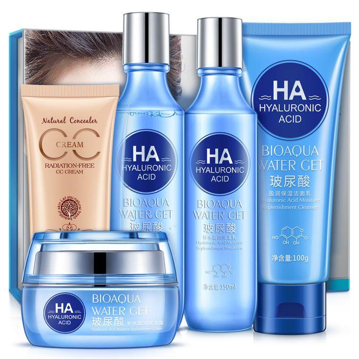 BIOAQUA Hyaluronic Acid Skin Care Set Hydrating Foundation CC Cream Moisturizing Gel Emulsion Toner Facial Cleanser 5pcs/lot  #HyaluronicAcid #SkinCareSet #HydratingFoundation #CCCream #MoisturizingGel #EmulsionToner #FacialCleanser #5pcslot
