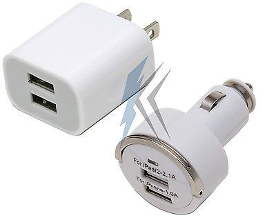 Dual USB Wall Charger + Dual Car Charger for Apple iPad 2 3 iPhone 5 6 6s 6+ 6+s