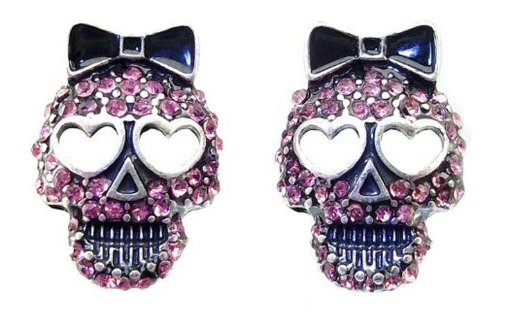 Sparkly Pink Crystal Skull Ring