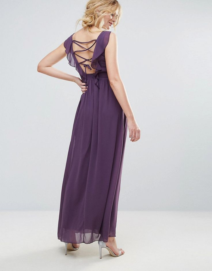 Little Mistress Embellished Maxi Dress With Tie Back - Purple