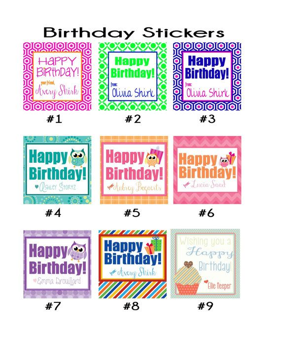 Set of 24 or 36 personalized custom birthday stickers many styles to choose from or well create one for you quick turnaround