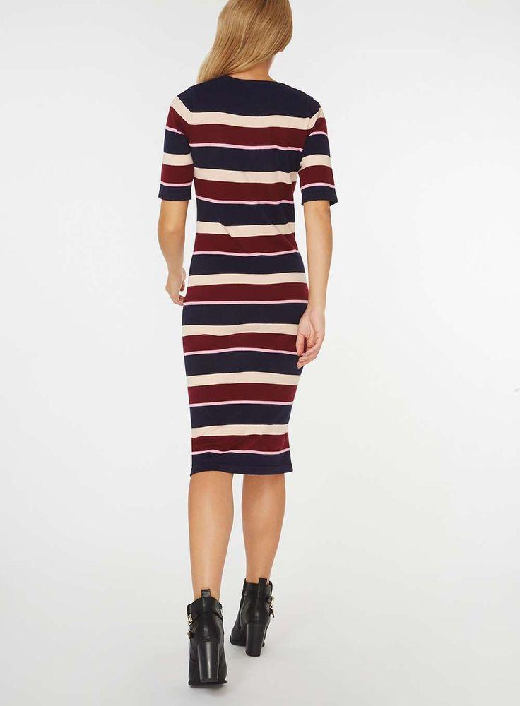 Womens Multi Coloured Stripe Knitted Midi Dress- Multi Colour
