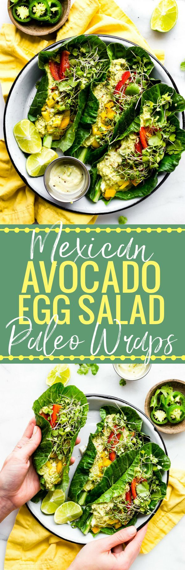 These Mexican avocado egg salad wraps make for a perfect low carb veggie packed lunch! Paleo Avocado Egg Salad seasoned with Mexican spices and jalapeño, then all wrapped up in collard greens! Whole 30 friendly. www.cottercrunch.com