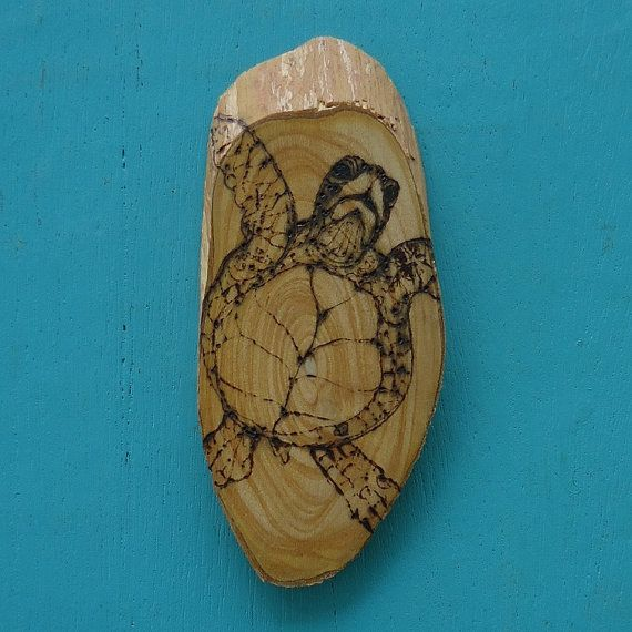 Sea Turtle Wall Hanging Wood Burned Sea Turtle Art Wood