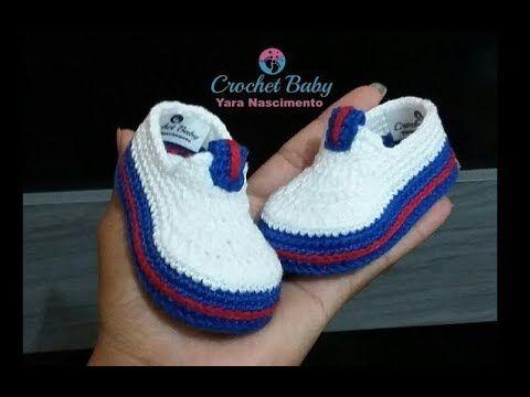 Sapatinho VICTOR EDUARDO de crochê - Tamanho 09 cm - Crochet Baby Yara N...