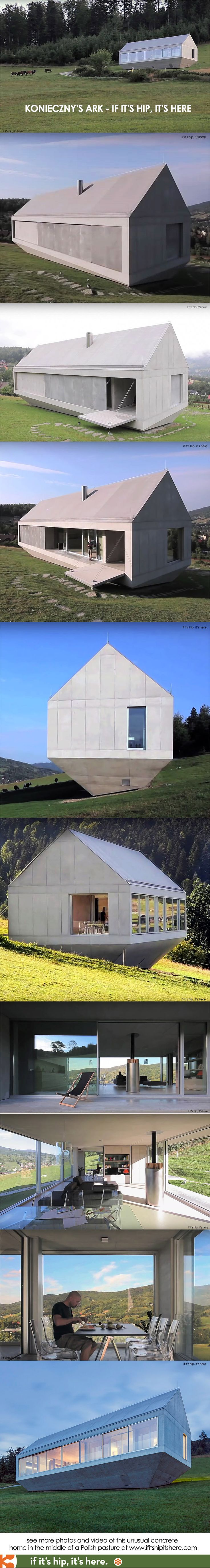 A wild concrete home with sliding walls and an inverted for Waycool homes