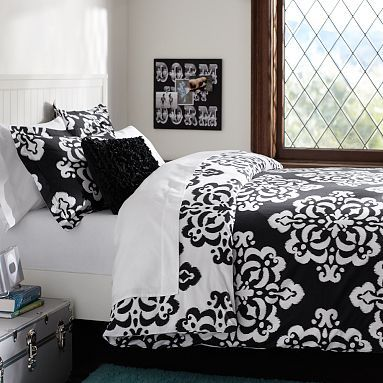 Ikat Medallion Duvet Cover + Sham, Black #potterybarnteen  Black & White for when we go from Nursery to Big Girl Room without having to change the color scheme!
