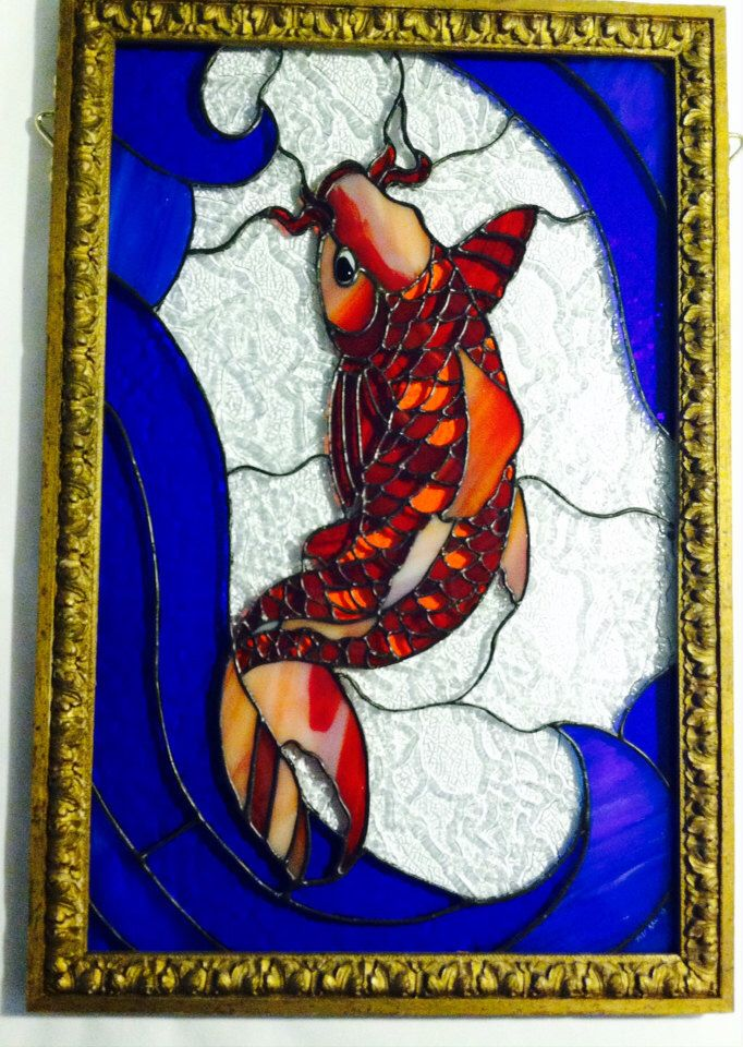 Japanese Koi Stained Glass Panel by redrhinoglass on Etsy https://www.etsy.com/listing/188037264/japanese-koi-stained-glass-panel