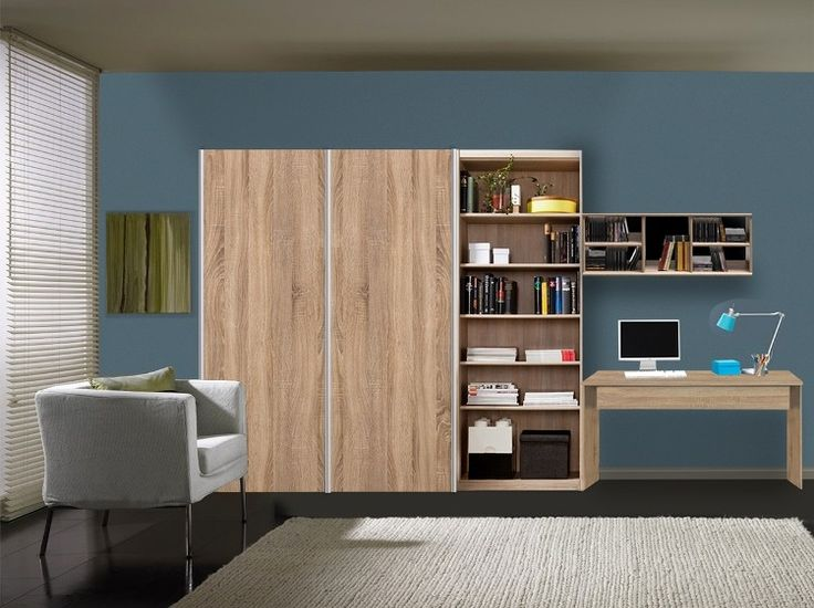 """Softplus Integrated Study (Oak) - """"""""""""This combination of a desk with a bookcase from Soft Plus in oak is highly functional. Not only does one get a desk but also a wall shelf and book shelf to match it hence making way for more organized storage. It has an added sliding wardrobe to complement it. Life couldn't get more systematic with this all-in-one study with storage . """""""""""""""