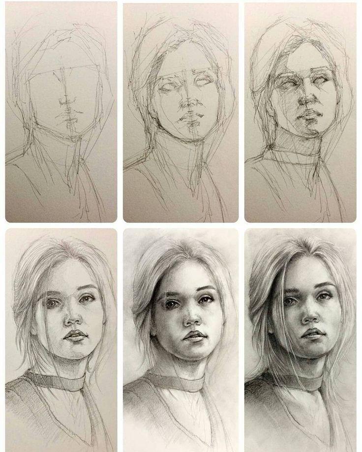 Картинки для рисования поэтапно портрет