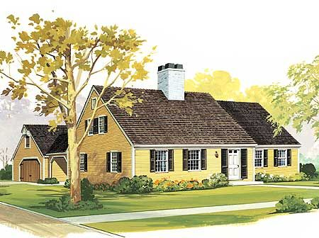 Starter Or Retirement Home Plan Cape Cod Traditional 3 Bedrooms 2 Baths Study Covered