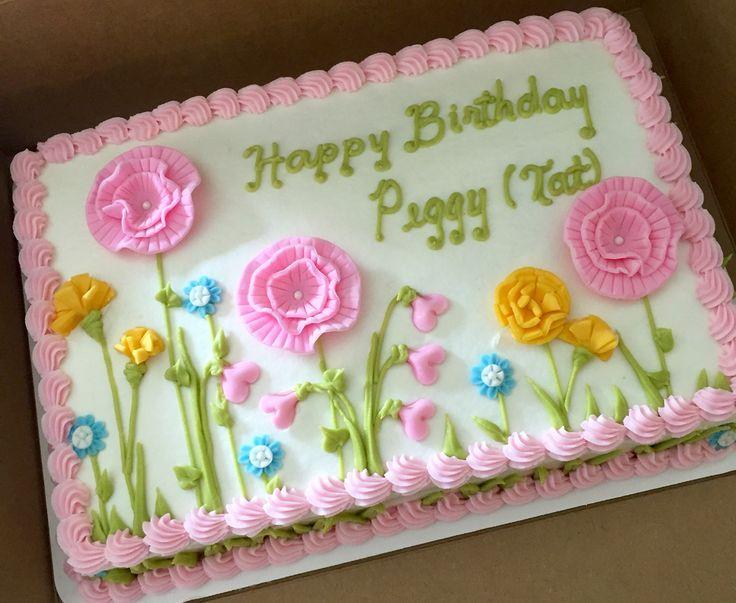 Fondant flower sheet cake #sheetcakesdonthavetobeboring #sheetcakes