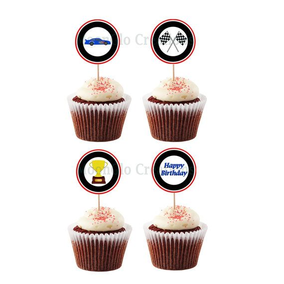 Race car theme cupcake picks . Birthday party by MoonGloCreations