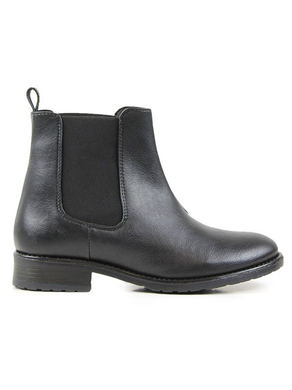 Vegan Vegetarian Non-Leather Womens Flat Chelsea Boots Black