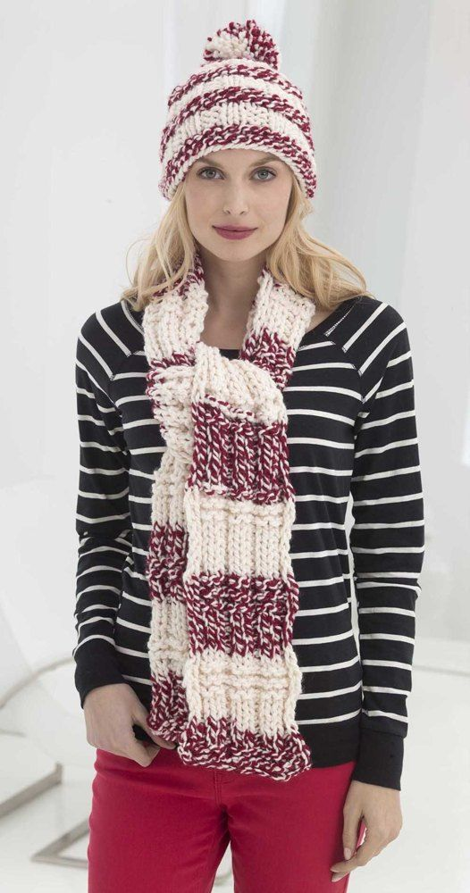 School Spirit Hat And Scarf in Lion Brand Wool-Ease Thick   Quick - L32426  Free  5f61aeafe04