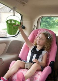 Road Trip Ideas. A pulley system to deliver items back and forth from the back seat. GENIUS!!