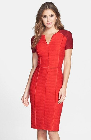 LOVE this red colorblock ribbed short sleeve sheath dress (also comes in blue)