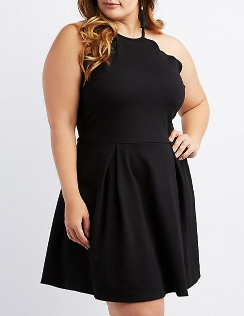 6780a158d14 Plus Size Scalloped Bib Neck Skater Dress