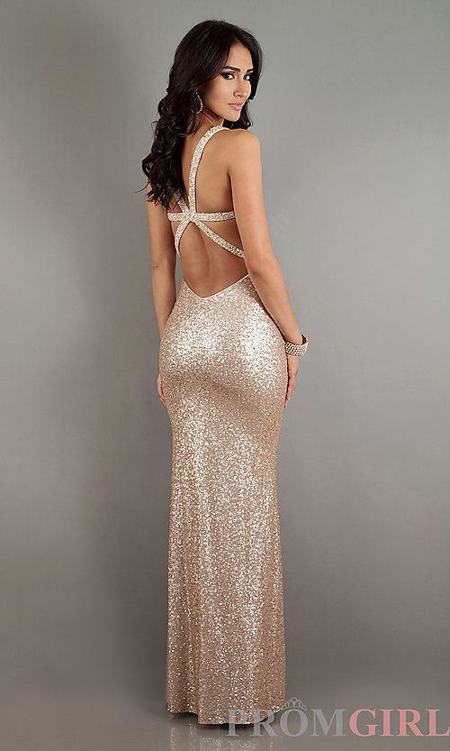 Long Sequin Sweetheart Open Back Gown