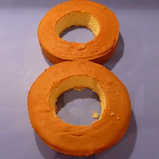 Tutorial:Cake shape Number 8 This cake is really two zero cakes put together. Some people just make two round cakes and don't even remove the centre pieces preferring instead to decorate the shape 8 on the top. Resource: Cutting the zero shape cake
