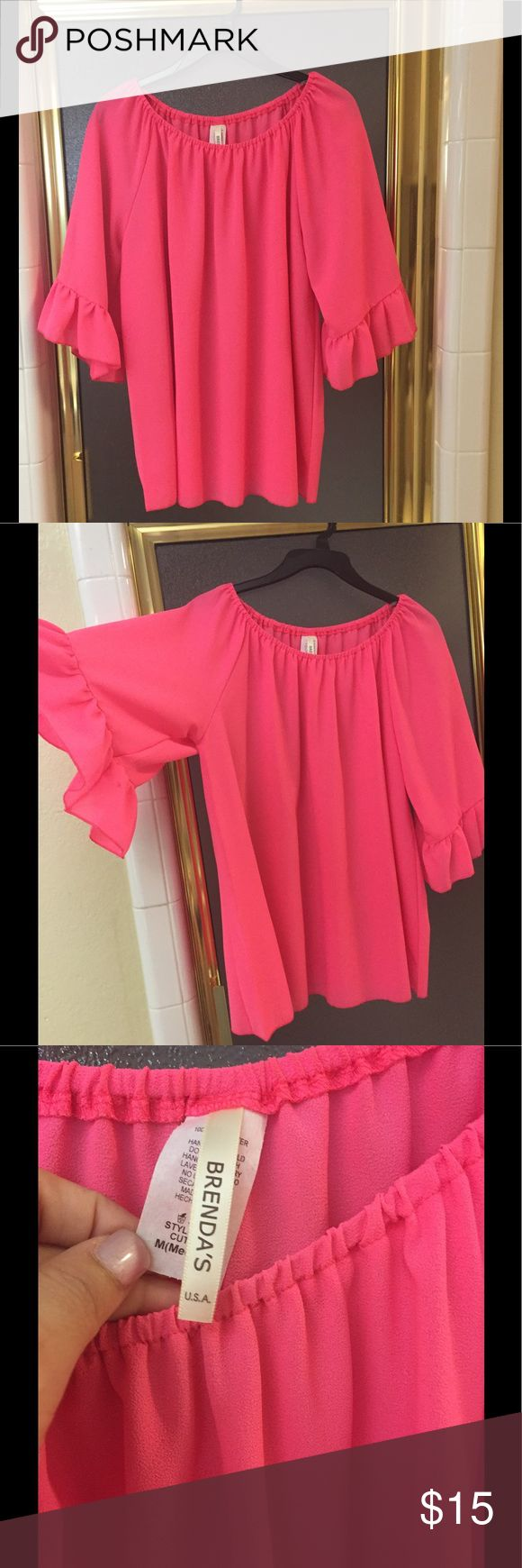 Hot pink blouse Used only once. In excellent condition. Great for summer. Brenda Tops Blouses