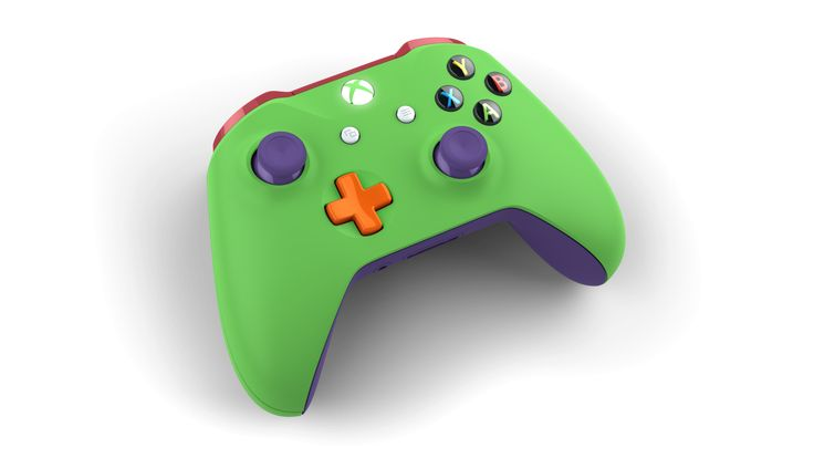 Custom controller with colors: Regal Purple, Electric Green, Oxide Red