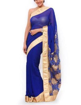 Mandira in blue saree
