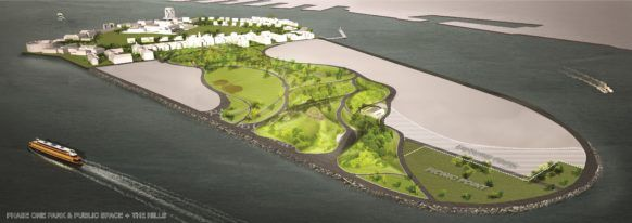 Rendering of phases I and II of Governors Island's new park space.