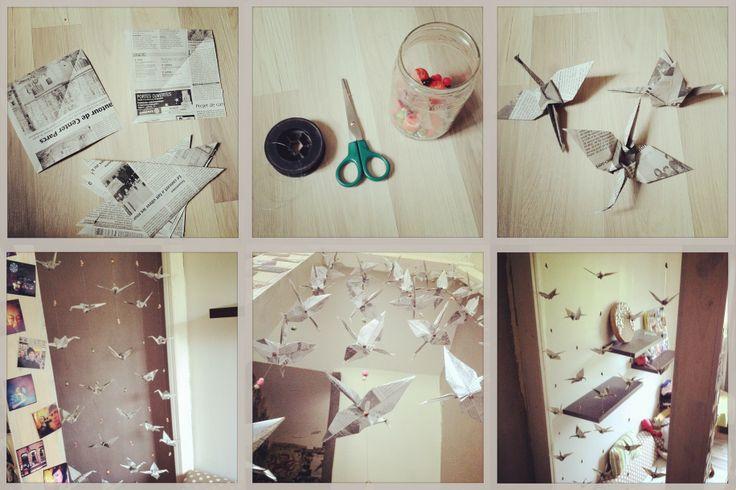 guirlande en papier journal fait base de grue en papier. Black Bedroom Furniture Sets. Home Design Ideas