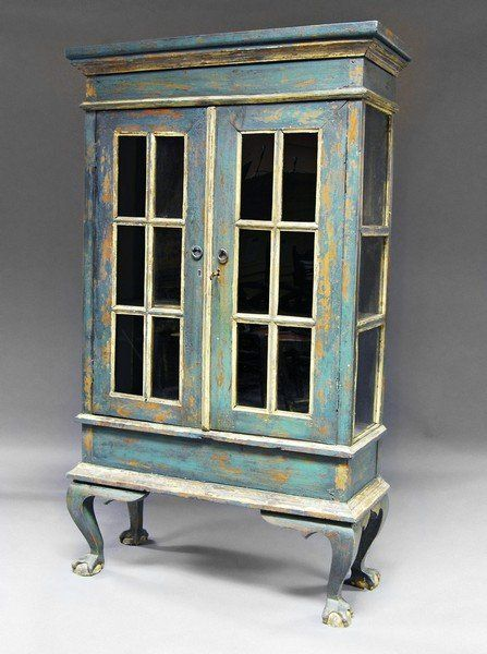 A Northern European painted green display cabinet, 19th : Lot 1205