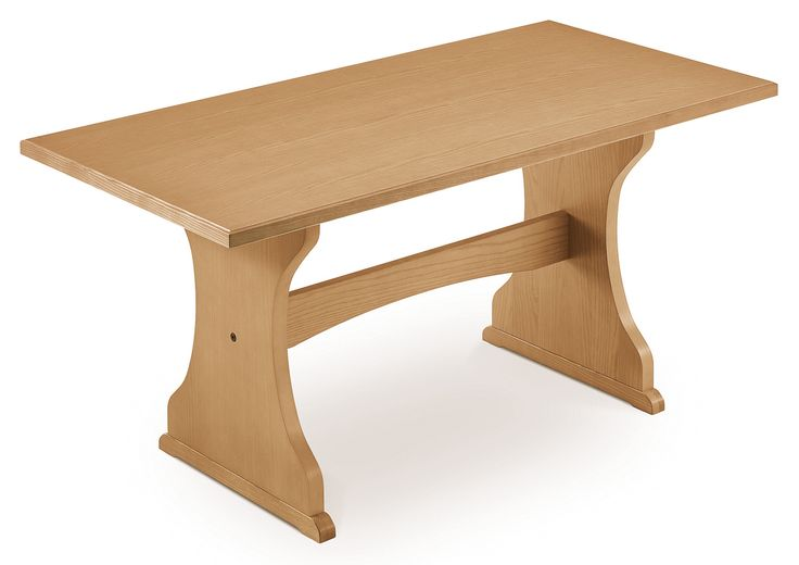Veneered table, solid wood and trimmed top edge.