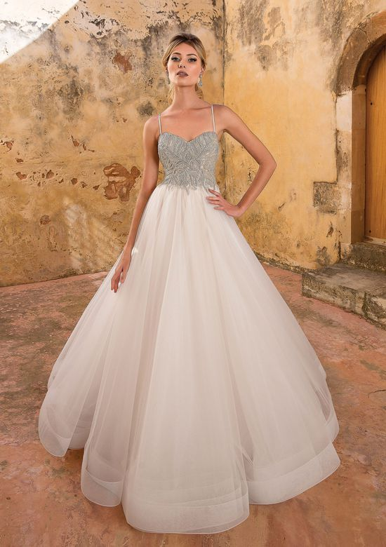 13b1b1824f1f Justin Alexander 88062D Almond/Ivory/Nude Size 8: Allover Silver Beaded  Bodice Ball