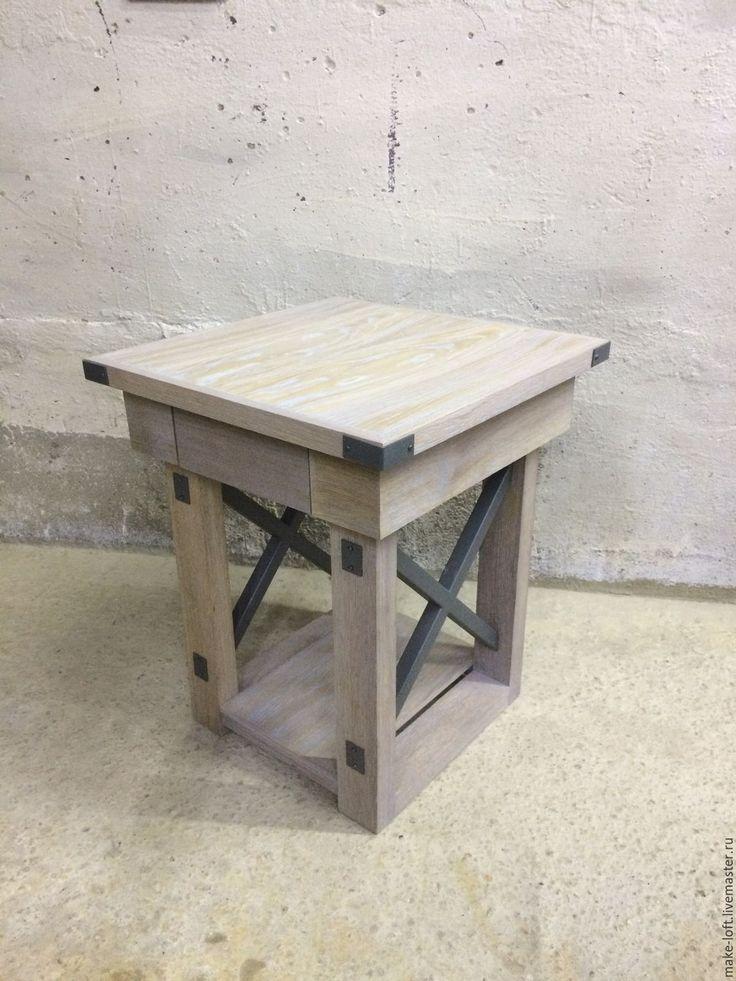 Купить Столик - винтаж, металл, бежевый, стол, дерево, столик, дуб, лофт, индустриальный, дерево