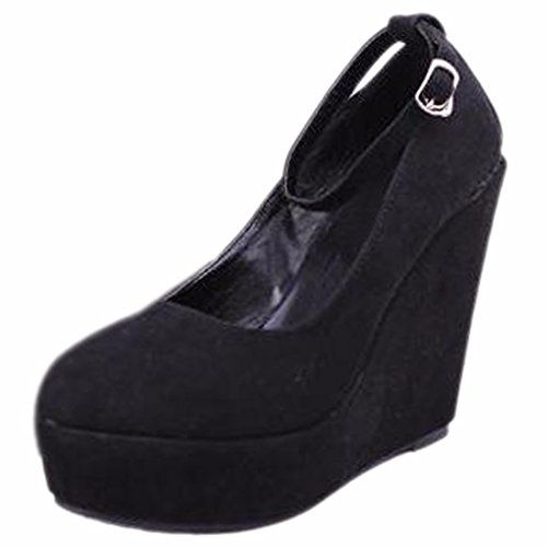 QIYUN.Z Frauen Hohe Keilabsatz Gürtel Wasserdichte Plattform Rund Zehepumpe Schuhe Schnalle - http://on-line-kaufen.de/qiyun-z/35-eu-qiyun-z-frauen-hohe-keilabsatz-guertel-rund