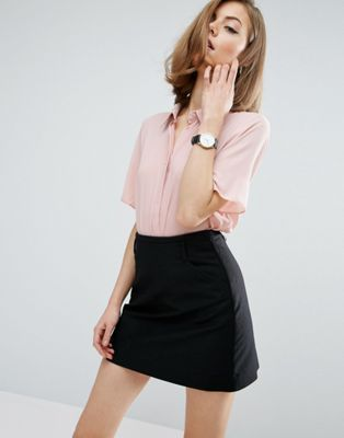 ASOS Crop Blouse with Short Sleeves   Blush