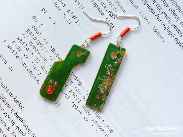 Earrings, recycled circuit board, gift for her, geeky jewelery, minimal, nerd, techie, computer, engineer, handmade, modern, FREE SHIPPING by CatAndCraftGeeky on Etsy