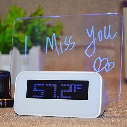 Baban Réveil Digital Tableau LED Bleu Message Lumineux Fluorescent + 4 USB + Message Pen Deco Cadeau, USB 2.0 DC 4.5V 1A: Price:58DETAILS…