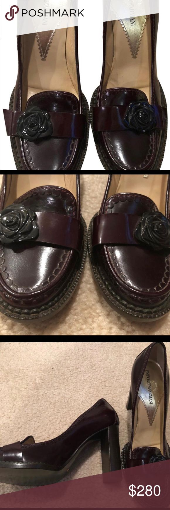"""Emporio Armani Xeda New Burgundy Heels Emporio Armani Xeda Burgundy Heels. New without box burgundy heel with black flower accent on front band. Wood heel 3 3/4"""". Style Xeda 92 879. I will add signature required when shipping to this sale. Emporio Armani Shoes Heels"""