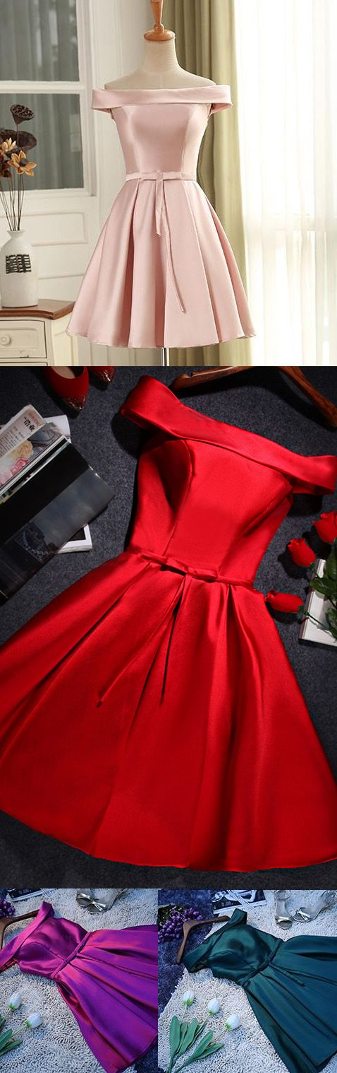 A-line Party Dresses, Red Prom Dresses, Short Prom Dresses With Pleated Sleeveless Mini