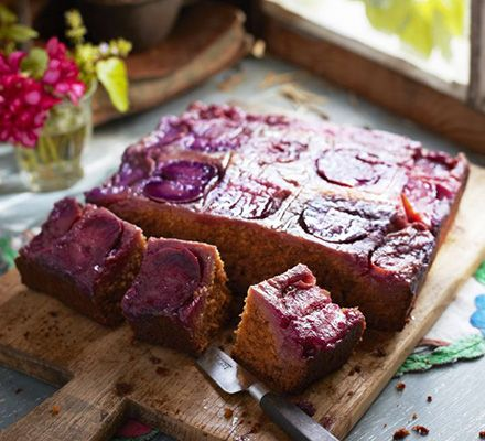 September seasonal - Gingery plum cake: top this hearty fruit sponge with a dollop of something creamy and enjoy every bite!