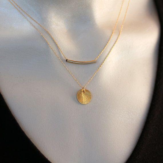 Disque d'or collier collier en or remplie Simple par ShopClementine