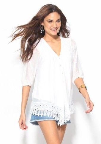 Halenka s krajkovým lemem #ModinoCZ #bluse #white #whitebluse #style #outfit #modino_sk