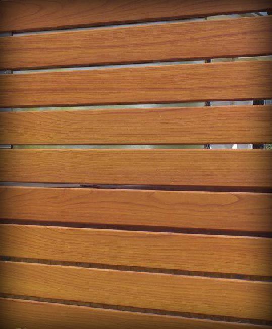 Timber look aluminium slat fence
