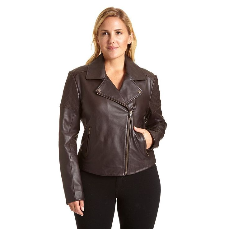 Plus Size Excelled Asymmetrical Leather Motorcycle Jacket, Women's, Size: 1XL, Brown